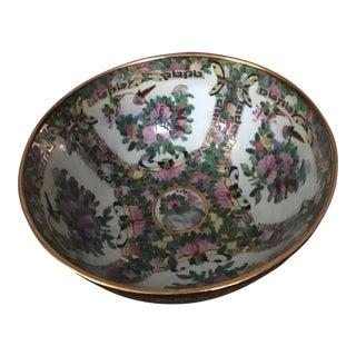 Vintage Chinese 14k Gold Rim Floral Bowl