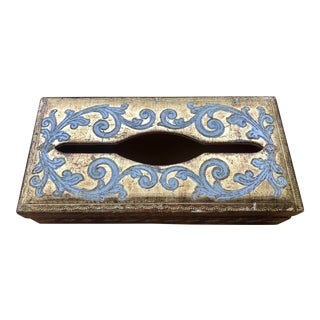 20th Century Florentine Italian Baroque Tissue Box Cover For Sale