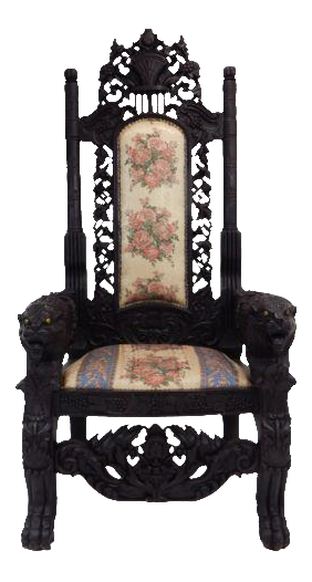 Intricately Carved Mahogany Lion Gothic Throne Chair