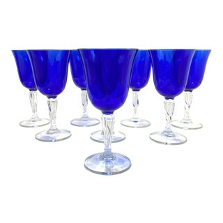 1970s Cobalt Blue Glass Water Goblets - Set of 8 For Sale