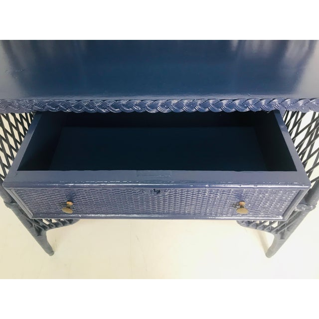 Navy Blue 1960s Navy Rattan Writing Desk With Topper For Sale - Image 8 of 9
