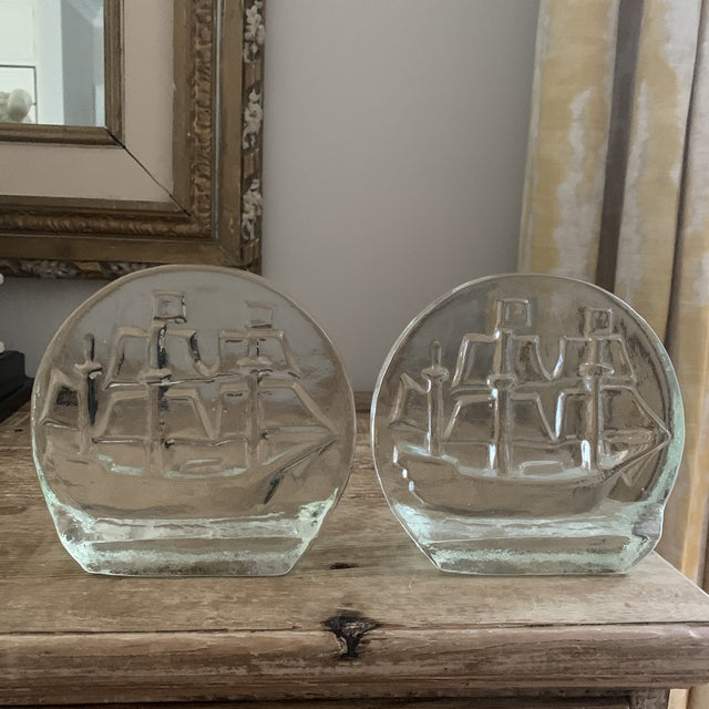 Mid century era, a pair of Blanko thick glass sailing ship bookends. Solid, heavy weight, hand crafted. Gorgeous texture...
