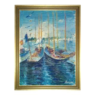 "1960s Dimitrie Berea ""Les Voiliers "" Nautical Oil Painting For Sale"