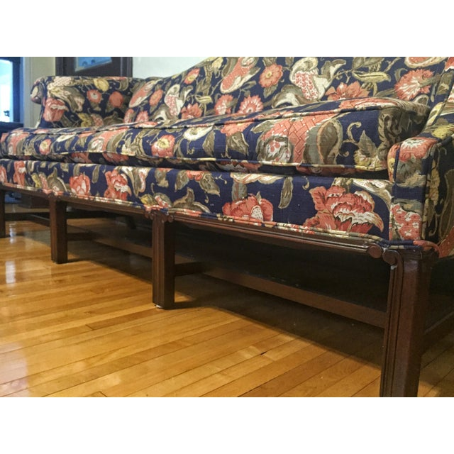 Hickory Chair Co. Mahogany Frame Chippendale Style Camel Back Floral Pattern Sofa with down filled cushions. Age: ?...