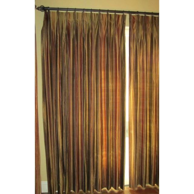 Striped Silk Drapery Panels - Image 2 of 4