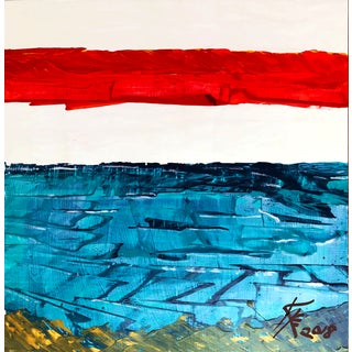 """""""Sunset Beach"""" Contemporary Abstract Acrylic Painting by Kyle M. Evans For Sale"""