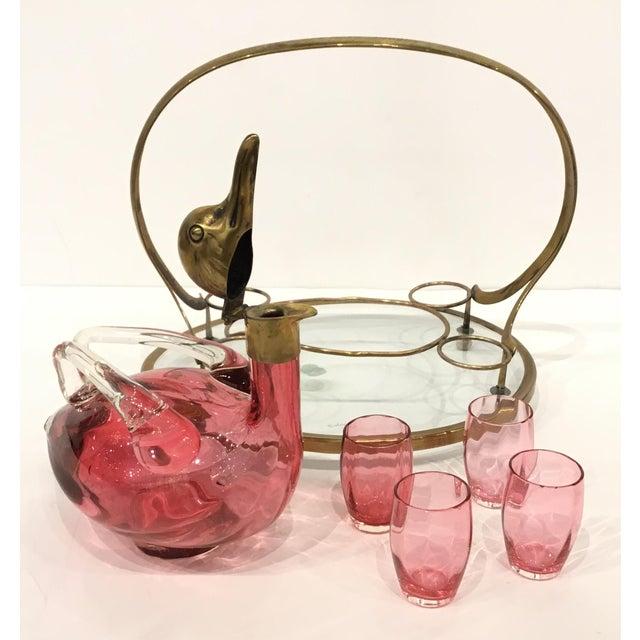 Art Deco Vintage Art Deco Cranberry Art Glass Duck Decanter Set For Sale - Image 3 of 5