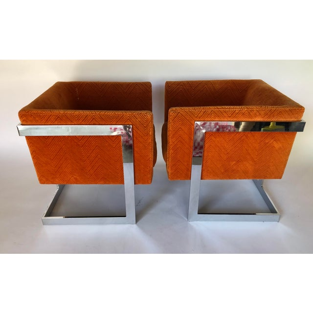 1970s Mid-Century Modern Milo Baughman T-Back Chrome Lounge Chairs - a Pair For Sale - Image 12 of 12