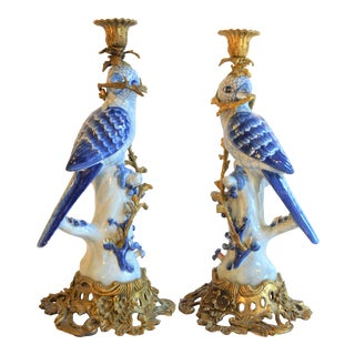 (Final Markdown Taken) 1980s Blue and White Porcelain Ormolu Parrot Candlesticks - a Pair For Sale