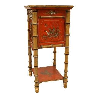 English Victorian Red Lacquered Chinoiserie Commode For Sale