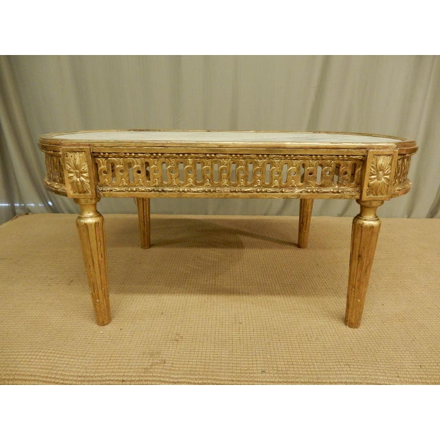 18th C. Louis XVI Marble Top Coffee Table For Sale - Image 4 of 8