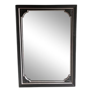 1950s Oversized Black & Silver Leaf Mirror For Sale