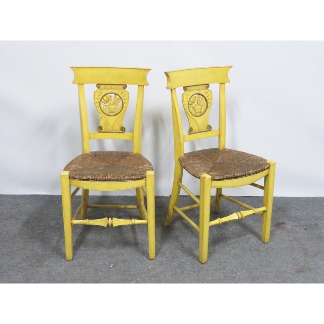 Set of 6 country French chairs, yellow painted finish, carved panel in backs, rush seats.