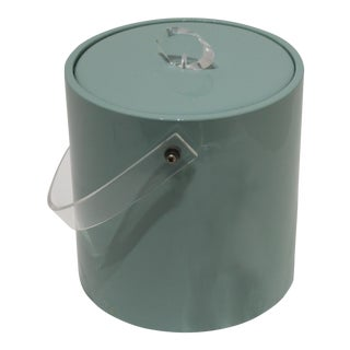 1970s Seafoam Turquoise Vinyl and Lucite Ice Bucket, Tongs and Inner Liner For Sale