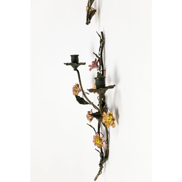 Tole and Porcelain Floral Wall Hanging Candle Holders - A Pair For Sale - Image 10 of 13