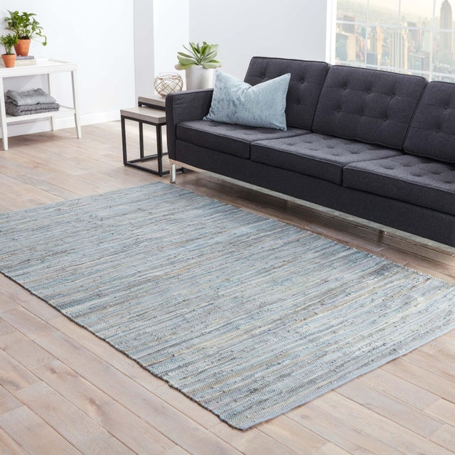 2010s Jaipur Living Raggedy Handmade Solid Blue & Gray Area Rug - 8' X 10' For Sale - Image 5 of 6