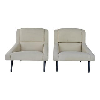 1990s Vintage Yellow Upholstered Club Chairs - a Pair For Sale