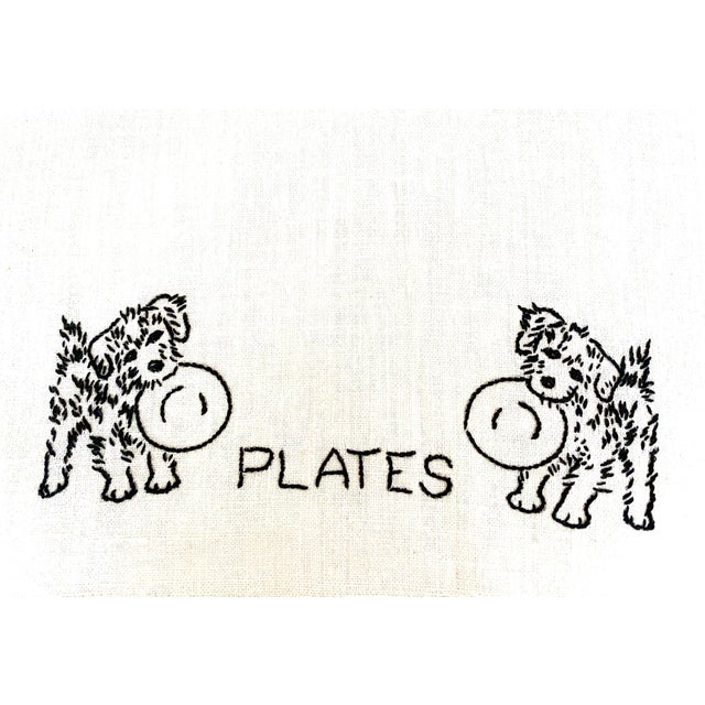1930s Antique Shabby Chic Linen Embroidered Dish Towels, Set 4 For Sale - Image 5 of 7