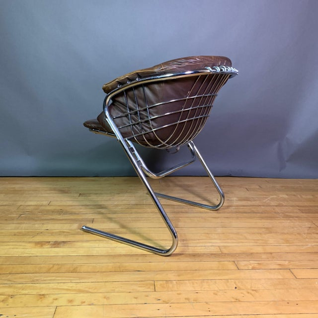 Gaston Rinaldi 1970s Leather Wireframe Armchair, Rima Italy For Sale - Image 9 of 12