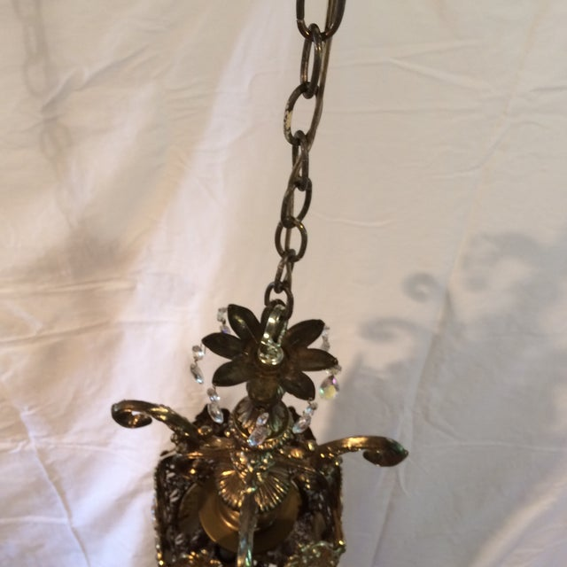 Brass Vintage 60's Brass Filagree With Opalescent Crystals Swag Pendant Light For Sale - Image 7 of 11