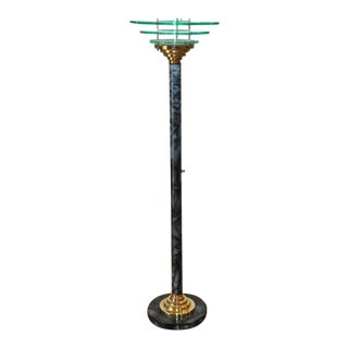 Designer Mid-Century Modern Torchiere Floor Lamp With Acrylic Ring Shade For Sale