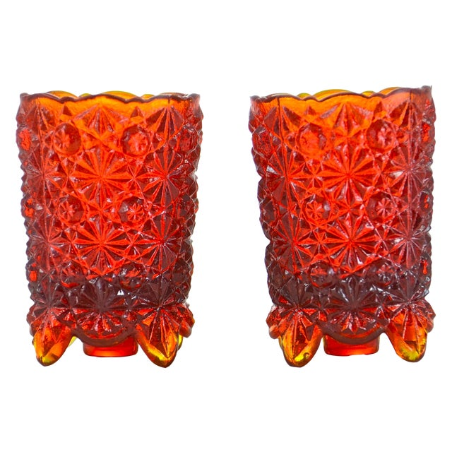 Red Ombre Candle Holders - A Pair - Image 1 of 4