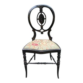 Late 19th Century Vintage Victorian Needlepoint Chair For Sale