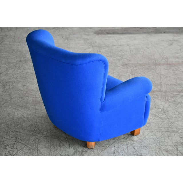 Wood Danish Midcentury Fritz Hansen Style Large Scale Club or Lounge Chair, 1940s For Sale - Image 7 of 10