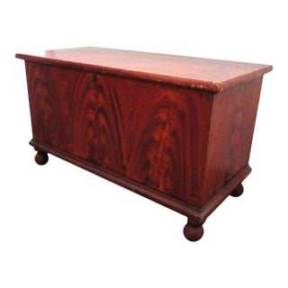 19thc Original Salmon & Decorated Pennsylvania Blanket Chest For Sale