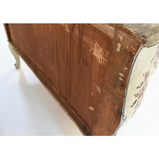 20th Century Shabby Chic Italian Floral Bombe' Chest For Sale - Image 9 of 10
