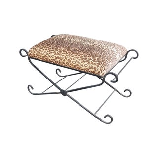 Vintage Leopard Print Wrought Iron Vanity Bench For Sale