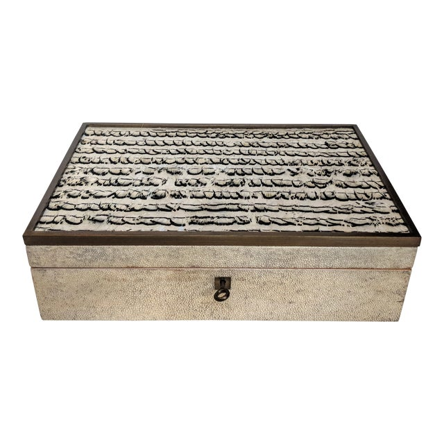 1980s R & Y Augousti Shagreen & Feather Box For Sale