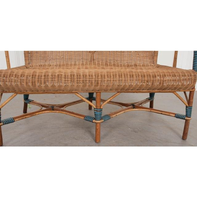 Vintage French Woven-Rattan Settee For Sale - Image 4 of 11