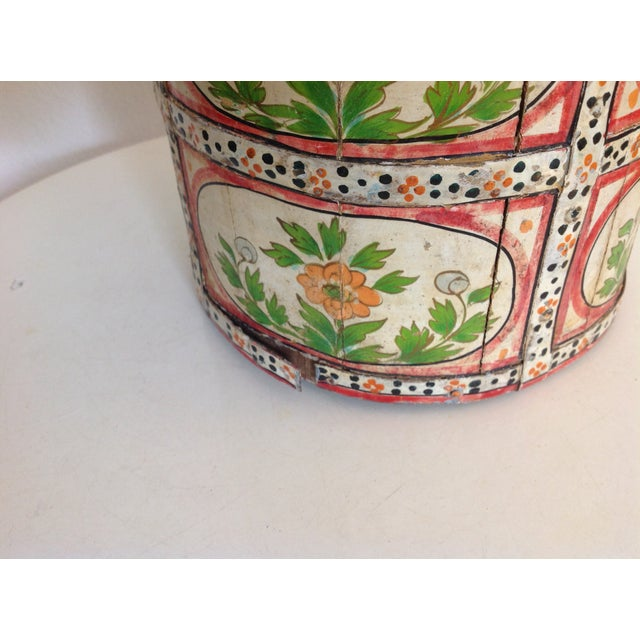 Late 20th Century Hand-Painted Wood Pail/ Vessel For Sale - Image 5 of 7