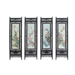 4 Pieces Porcelain Flower Birds Theme Wood Frame Screen Panel Headboard For Sale