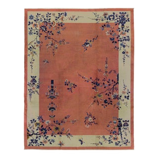 Contemporary Hand Woven Orange Floral Wool Rug - 9'2 X 11'7 For Sale