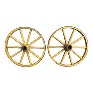 Folk Art Painted Wagon Wheels - a Pair For Sale