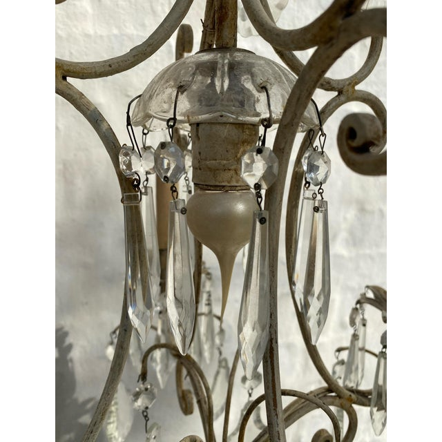 Antique 1940s Painted Metal and Crystal Chandelier For Sale - Image 4 of 7