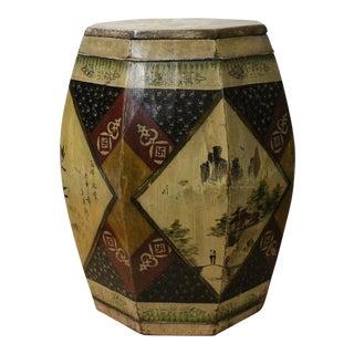 Chinese Village Vintage Wood Octagon Brown Scenery Box Display