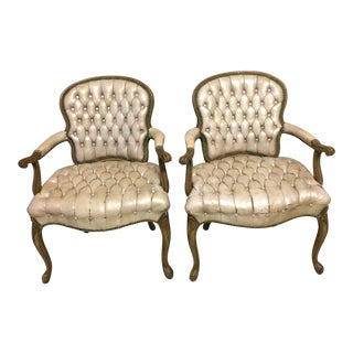 1960s Vintage Tufted Leather Open Arm Chairs- A Pair For Sale