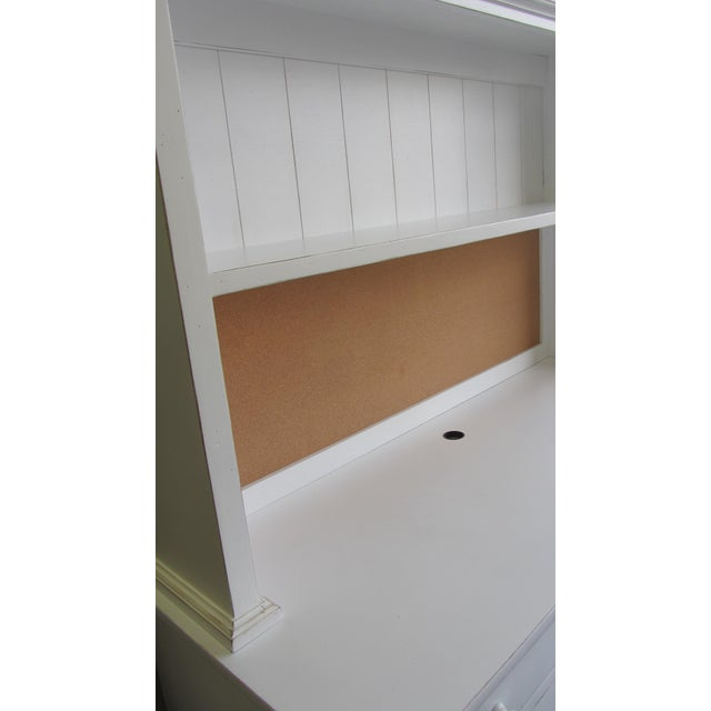 Custom Distressed White Desk With Bookcase
