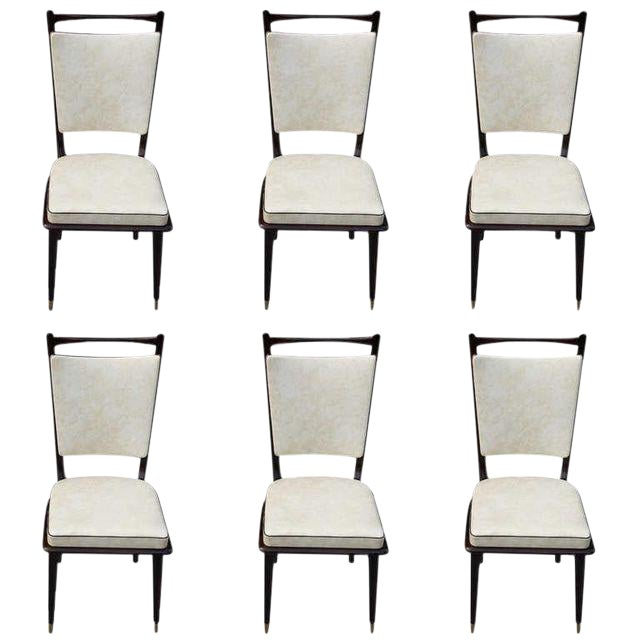 1940s Vintage French Art Deco Dark Mahogany Dining Chairs - Set of 6 - Image 1 of 10
