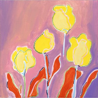 Kate Lewis Four Tulips Original Painting Preview