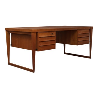 Authentic 1960s Danish Modern Kai Kristiansen Teak Executive Desk For Sale