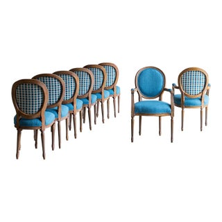 Contemporary Custom Finish Louis XVI Style Dining Chairs - Set of 8 For Sale
