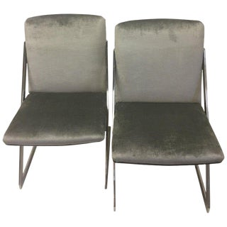 Vintage Mid Century Modern Chrome & Gray Velvet Club Chairs- A Pair For Sale