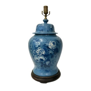 20th Century English Traditional Floral Blue Metal Lamp For Sale