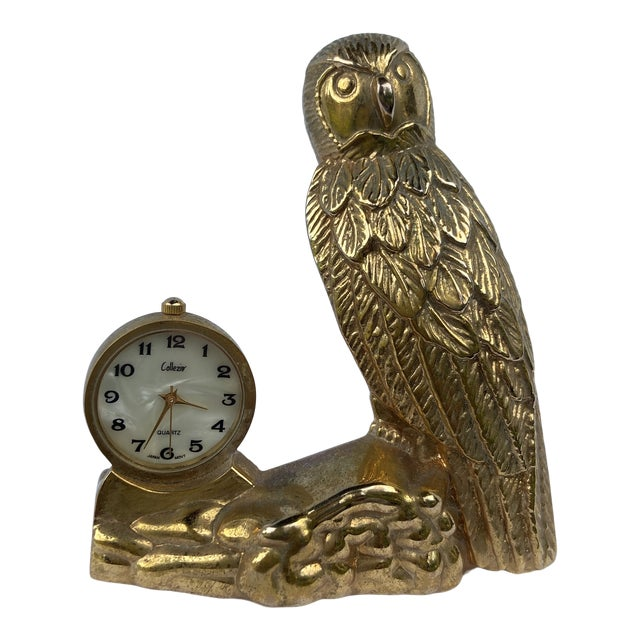 Mid 20th Century Brass Owl Clock For Sale