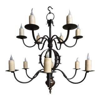 "Paul Ferrante 12 Light Wrought Iron Chandelier- ""The Tuscany"" For Sale"