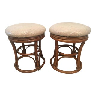 Vintage Tropical Palm Beach Rattan Stools Benches - a Pair